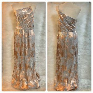 Adrianna Papell Dress Sz 14 Metallic One Shoulder